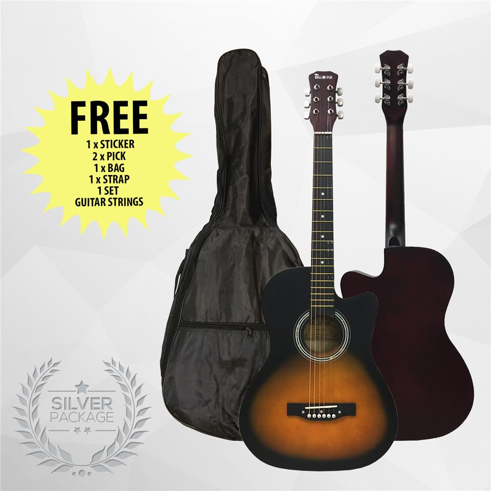 Taloha Acoustic Cutaway Matte Guitar 38 inch SuperValue Silver Package