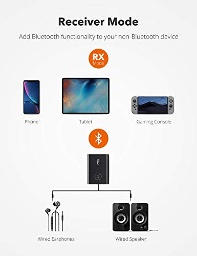 TaoTronics Bluetooth 5.0 Transmitter and Receiver, 2-in-1 Wireless 3.5mm Adapt