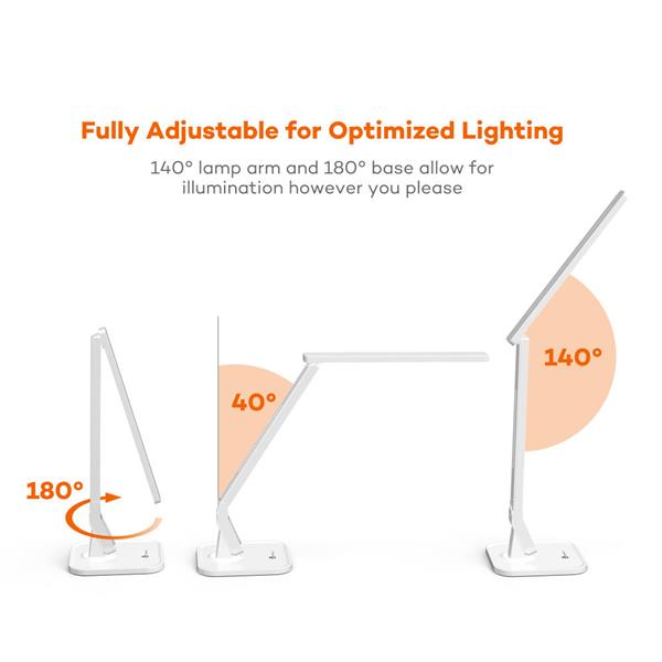 TaoTronics DL02 14W Dimmable LED Desk Lamp With USB Charging Port