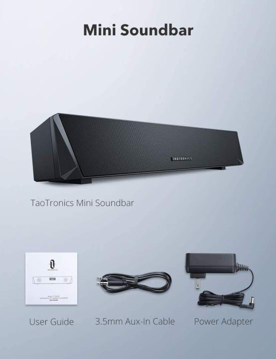 TaoTronics SK027 Bluetooth Gaming Soundbar with Colorful RGB Light