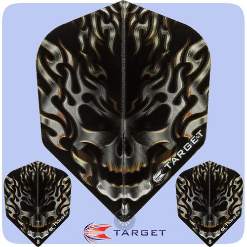 Target Dart Flight - Skull Flaming Black