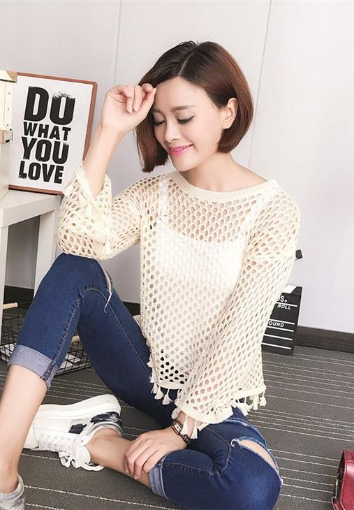 Tassel Hollow Knit Long Sleeve Blouse (Cream)