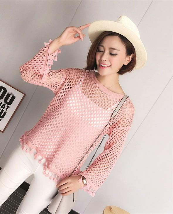 Tassel Hollow Knit Long Sleeve Blouse (Pink)