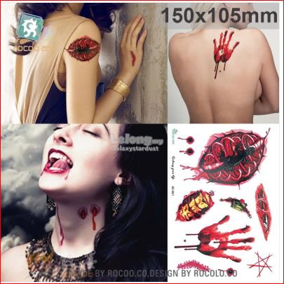 Tattoo-Halloween-Zombie-Scar Blood Wound-Cosplay Costume Scary Prank