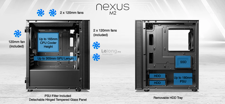 # TECWARE Nexus M2 mATX T.G PC Case # [Black/White]