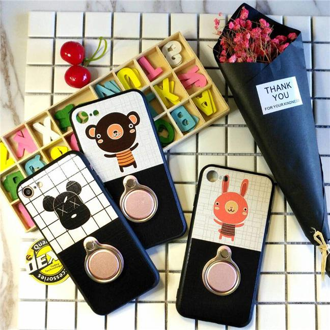 TEDDY BEAR Cartoon Case with iRing for Oppo A77 Free Earphone