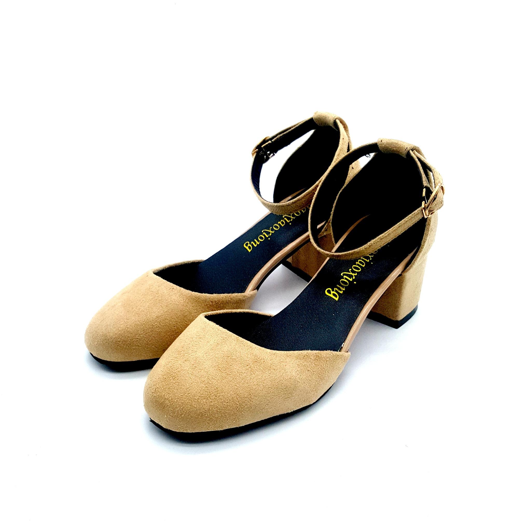 8477fc97a736 Teddy Women Velvet Closed Toe Buckle Strap Mid Heels - Beige. ‹ ›