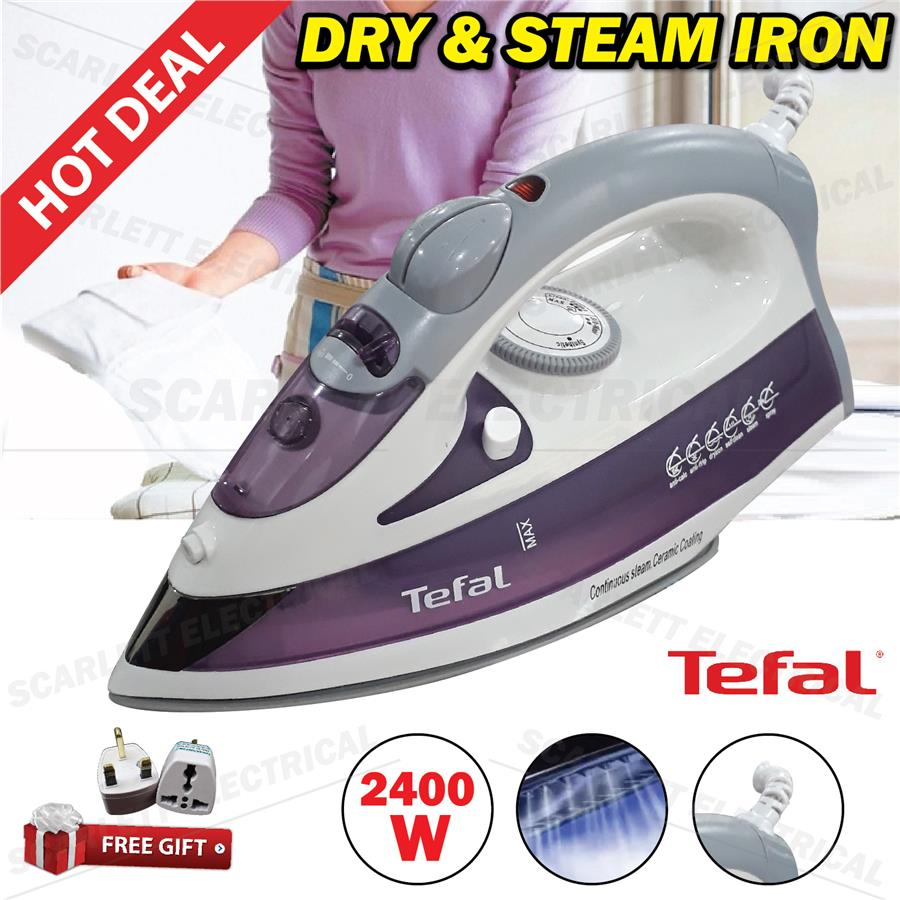 Tefal Iron Dry Steam Ironing Spray Ceramic Coating 2400W Swivel Cord