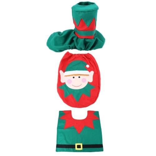 TEKKASHOP CUTE CHRISTMAS SPIRIT TOILET SET SEAT COVER RUG BATHROOM DEC