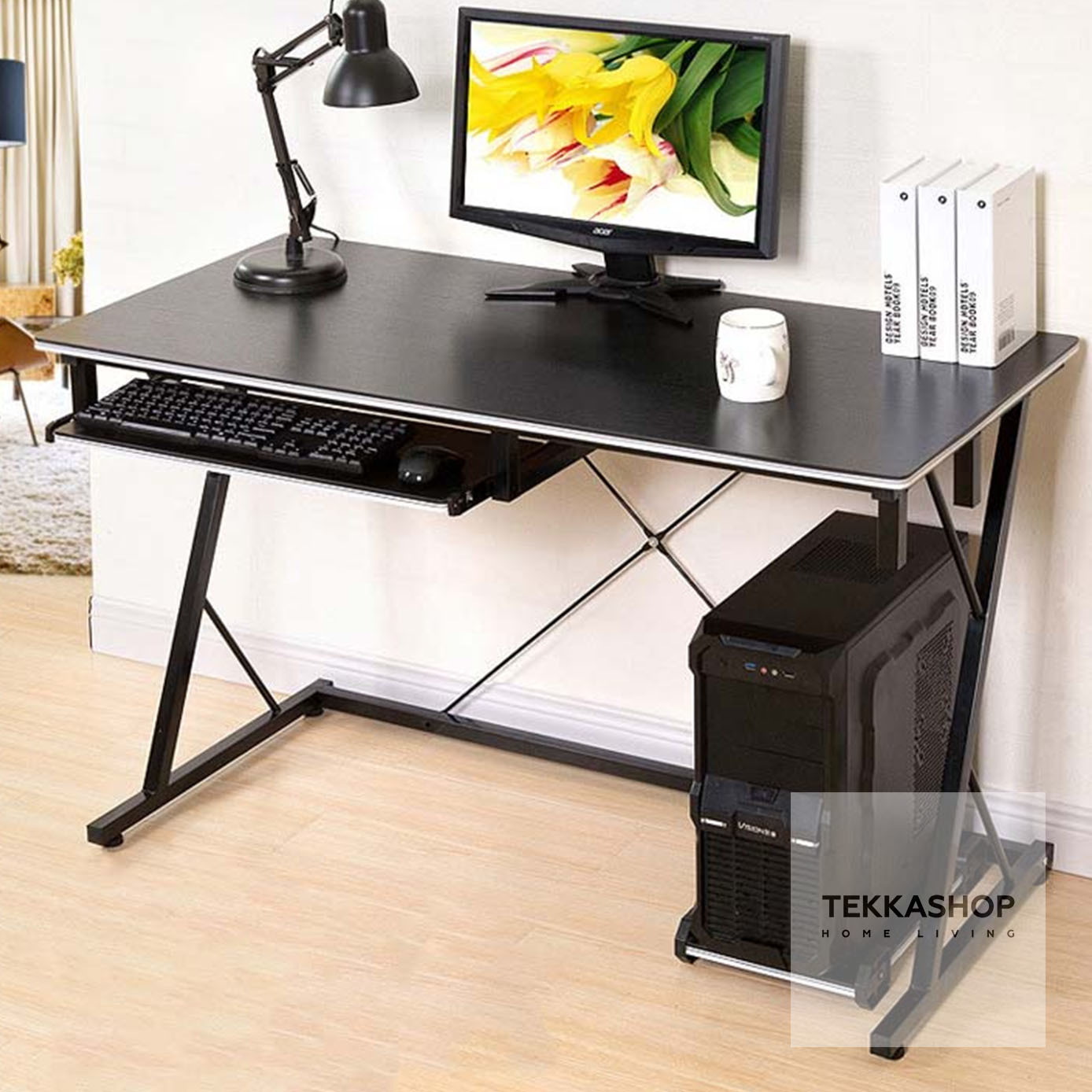 Tekka Gdcd1709bl Modern Wooden Computer Table Workstation Study Desk Blac