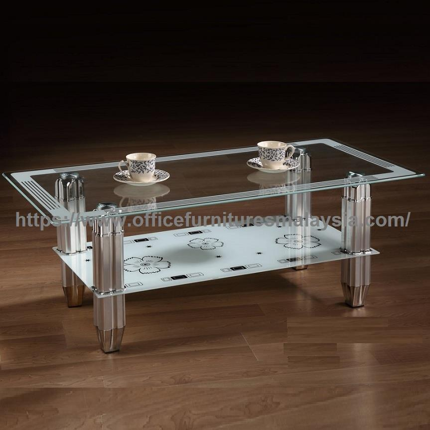 Tempered Glass Coffee Table With Chrome Base YGT-1235CT  Taman desa KL