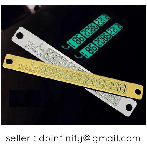 Temporary Car Parking Phone Number Display Card Plate Sucker Glow New