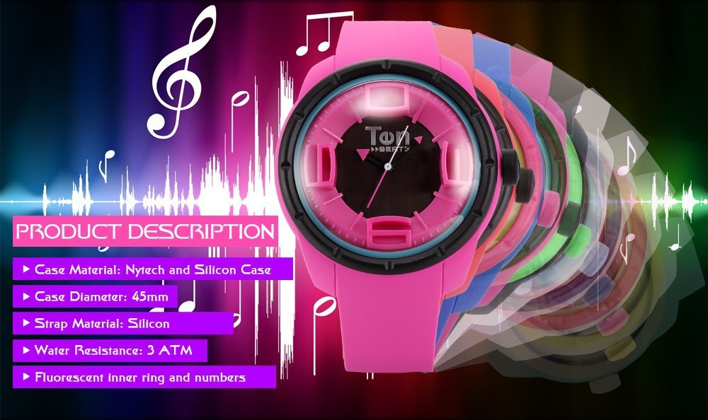 TEN BEATS Unisex Silicone Strap Watch (BF130206-D)