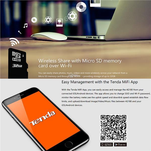TENDA 4G180 4G LTE Advanced Portable Wireless WiFi Modem Router MiFi