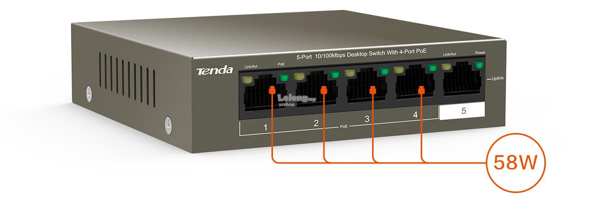 Tenda 5-Port 10/100Mbps Desktop Switch with 4-Port PoE(TEF1105P-4-63W)