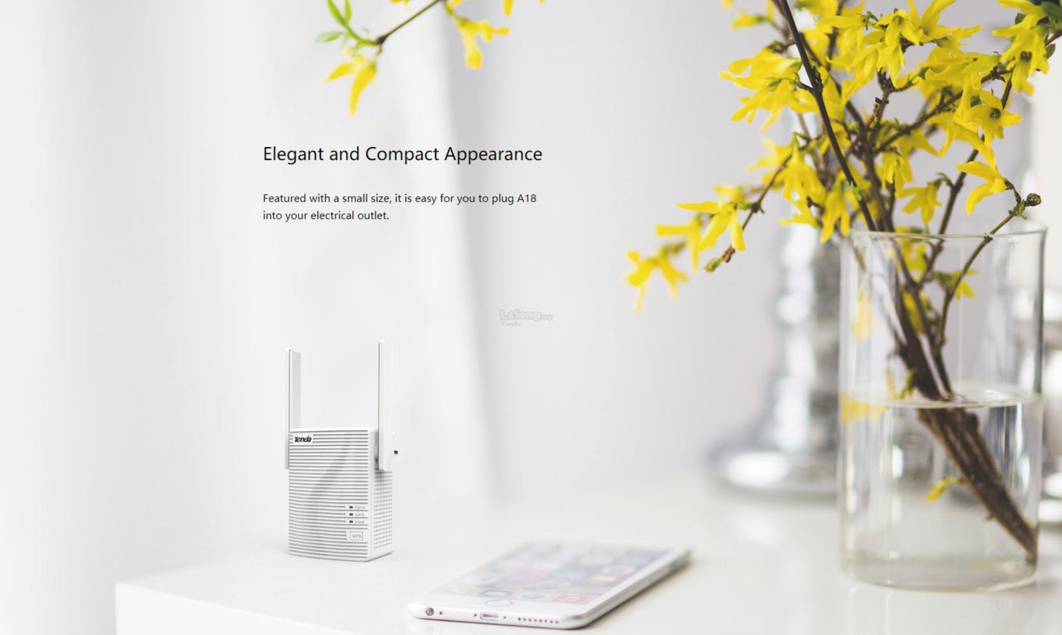 Tenda A18 AC1200 5Ghz+2 4Ghz Dual Band Wireless WiFi Extender/Repeater