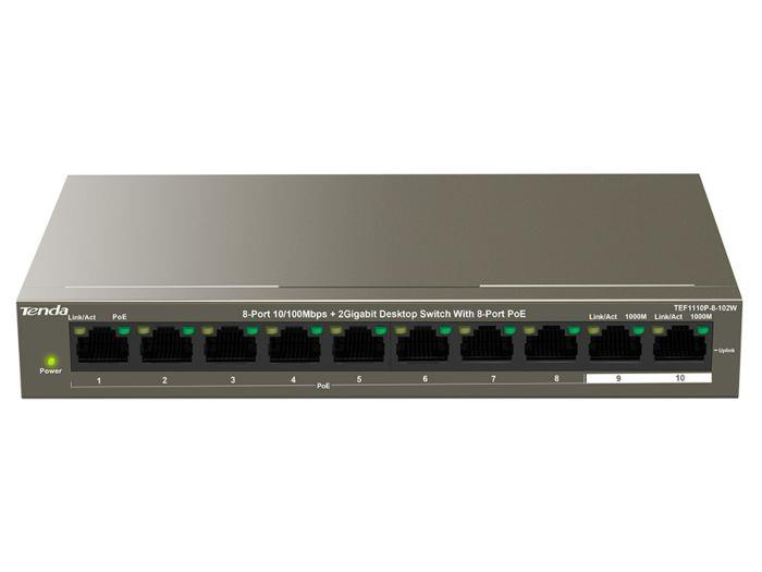 Tenda TEF1110P-8-102W/Switch/8-Port10/100Mbps+2 Gigabit Desk