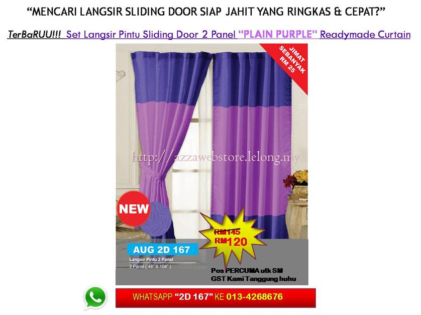 Terbaru Langsir Pintu Sliding Door 2 Panel Plain Purple Curtain