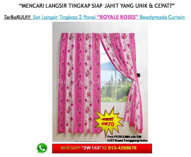Terbaru Langsir Tingkap 2 Panel Royale Roses Curtain Window