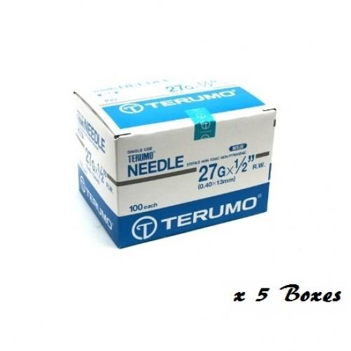 TERUMO DISPOSABLE NEEDLE 27G X 1/2' 100PCSX 5 box
