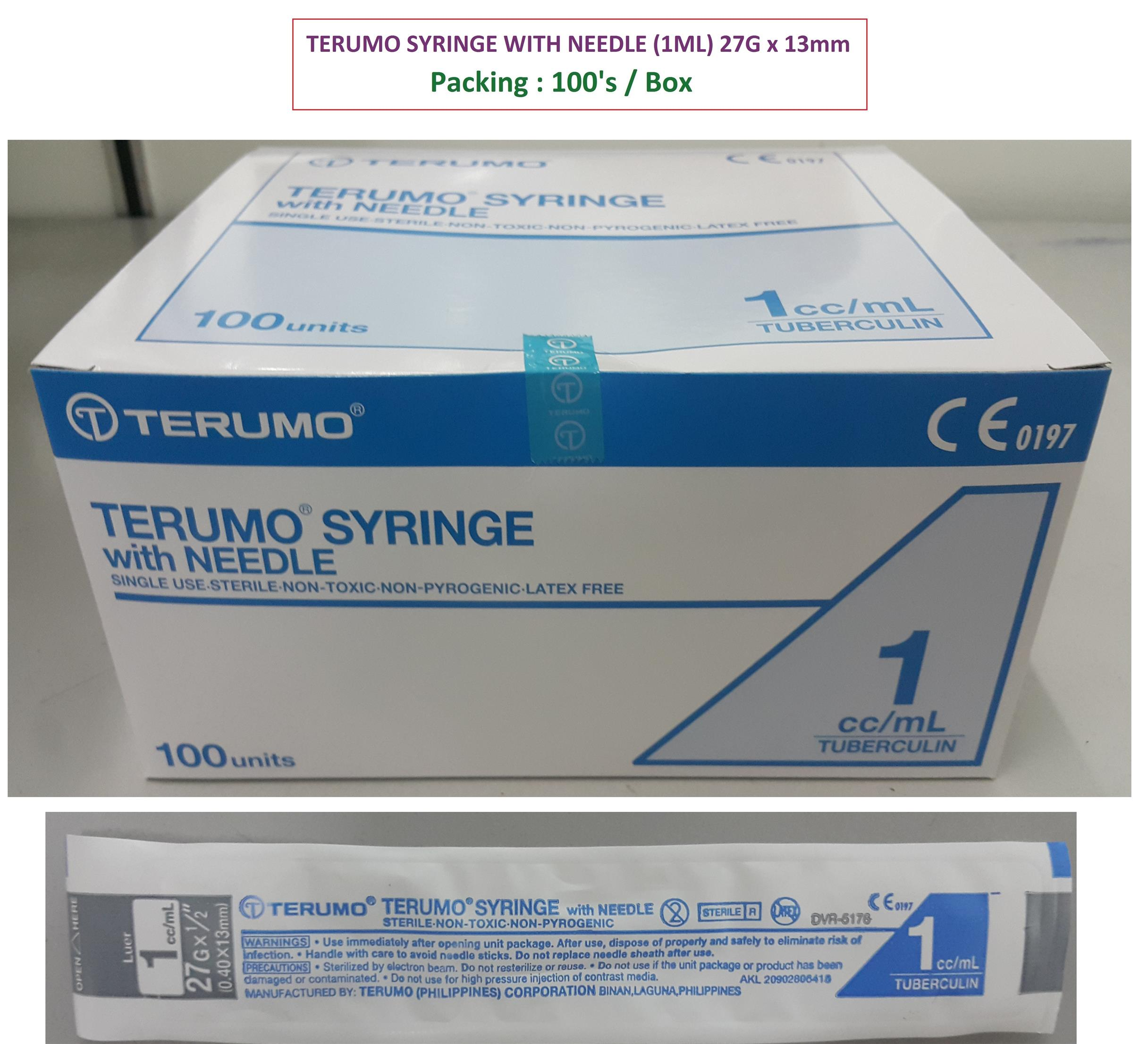 TERUMO SYRINGE 1ML WITH DETACHABLE NEEDLE ( 27G x 13mm ) : 5 PCS