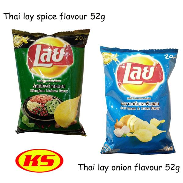 THAI LAY SPICE & OINION FLAVOUR POTATO CHIPS SNACK 52g(2PACK)