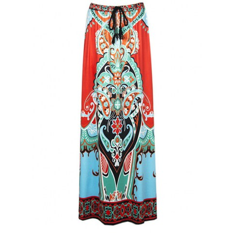 Thailand Tribal Print Swing Skirt