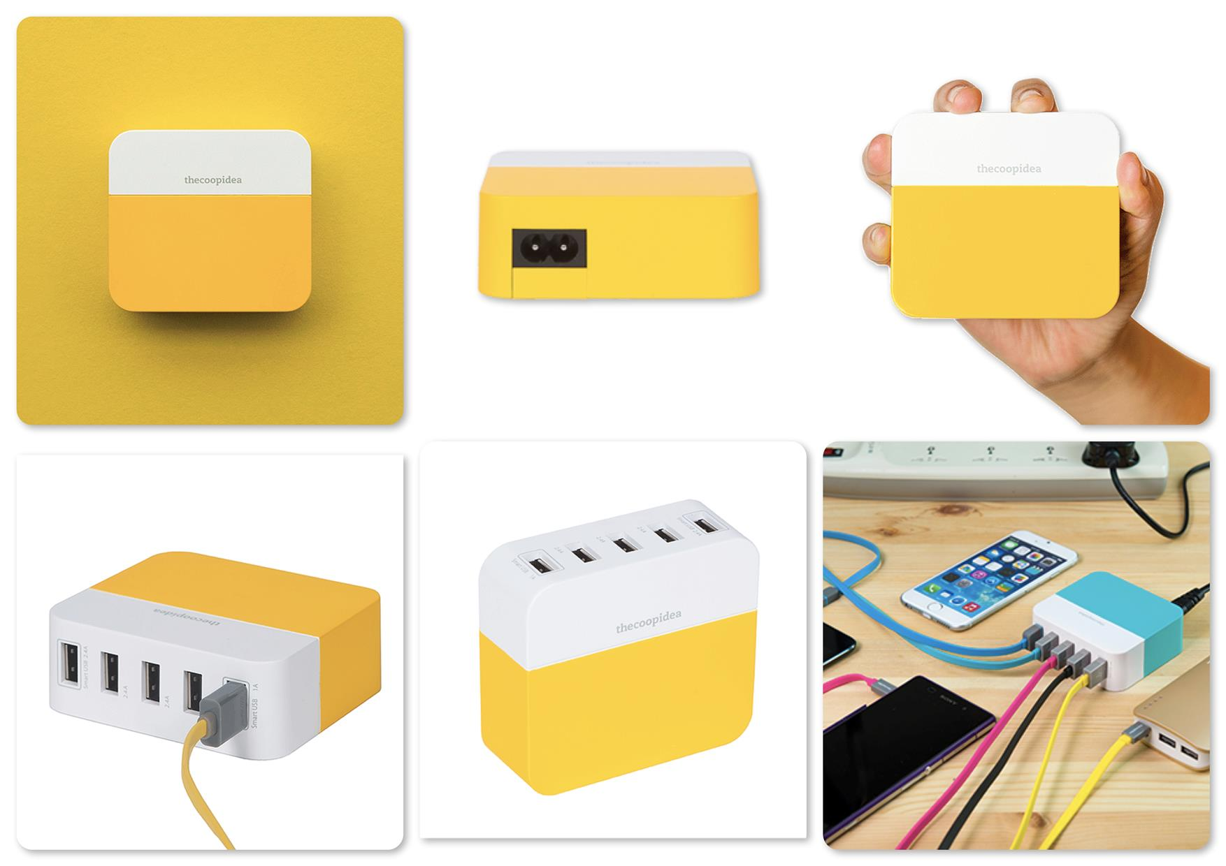 TheCoopIdea Power Block 5 Ports 10.6A USB Travel Charger (Yellow)