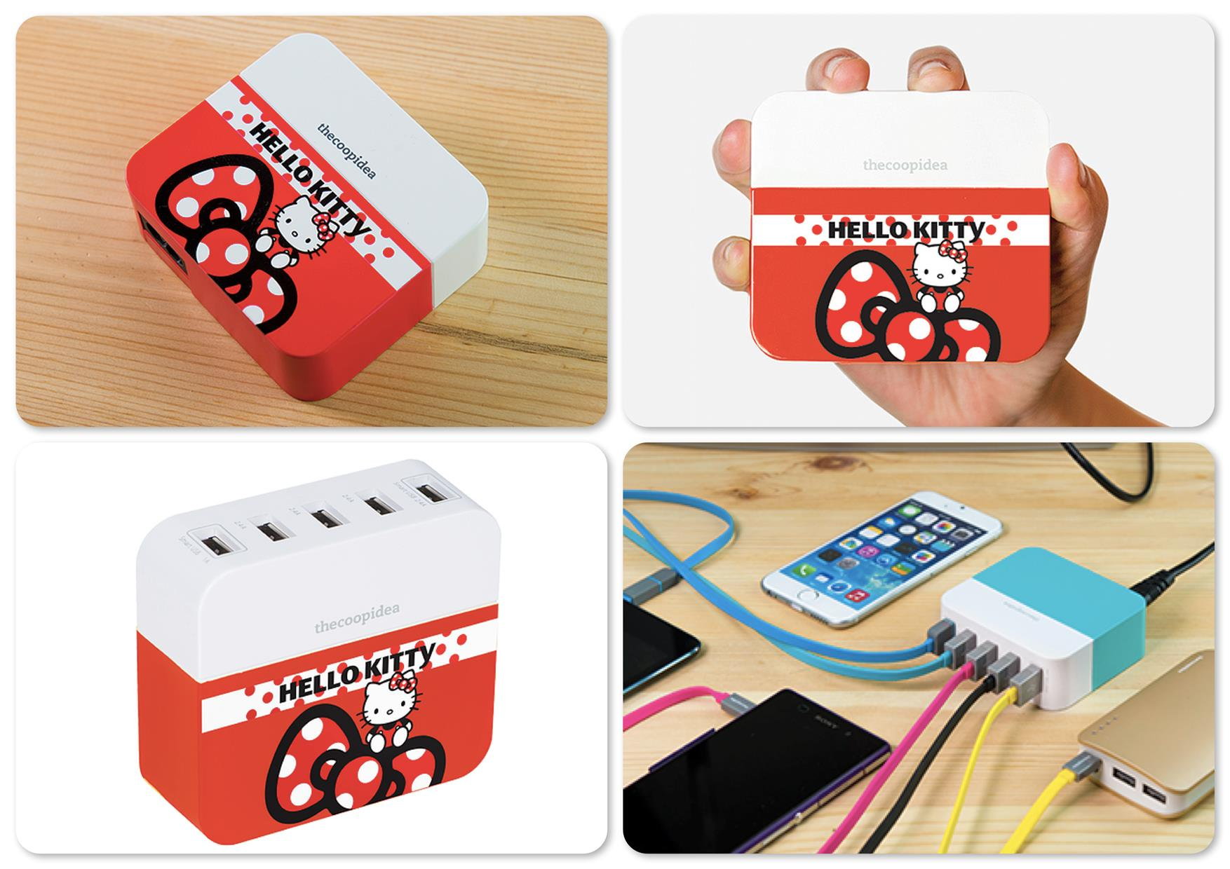 TheCoopIdea PowerBlock Hello Kitty Ribbon 10.6A 5 USB Travel Charger
