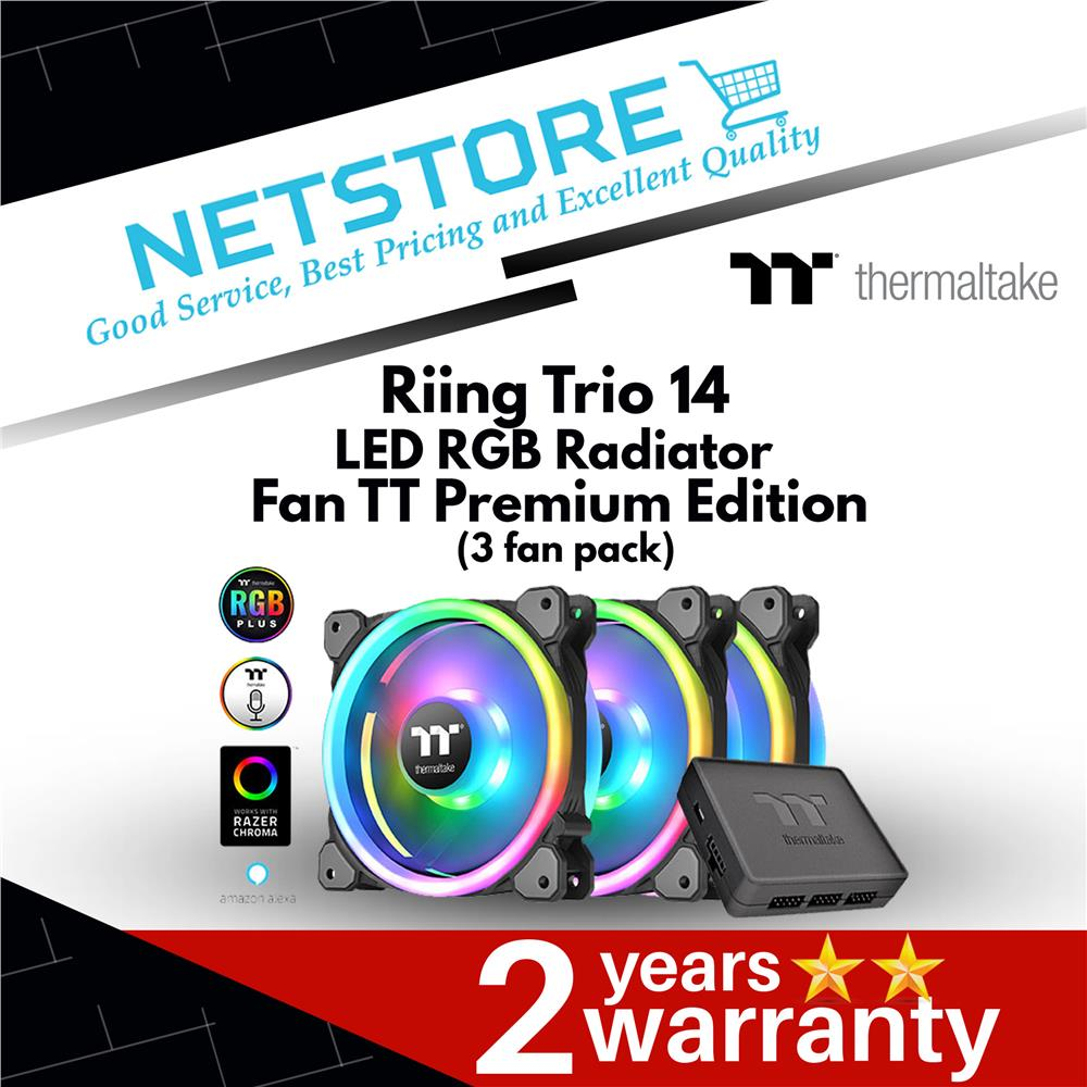 Thermaltake Riing Trio 14 LED RGB Radiator Fan TT Premium (3 Fan Pack)
