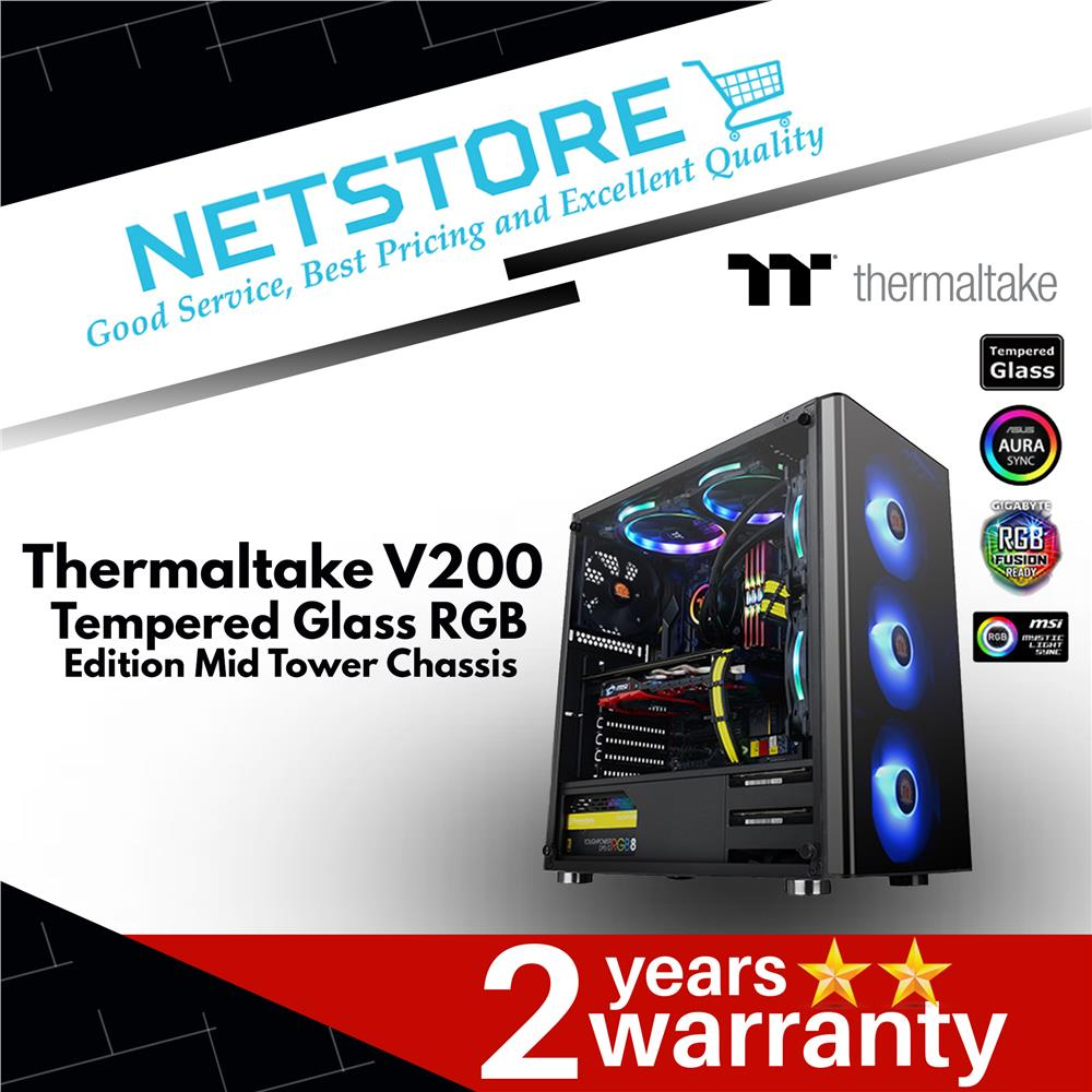 Thermaltake V200 TG Tempered Glass RGB Edition Mid Tower Chassis