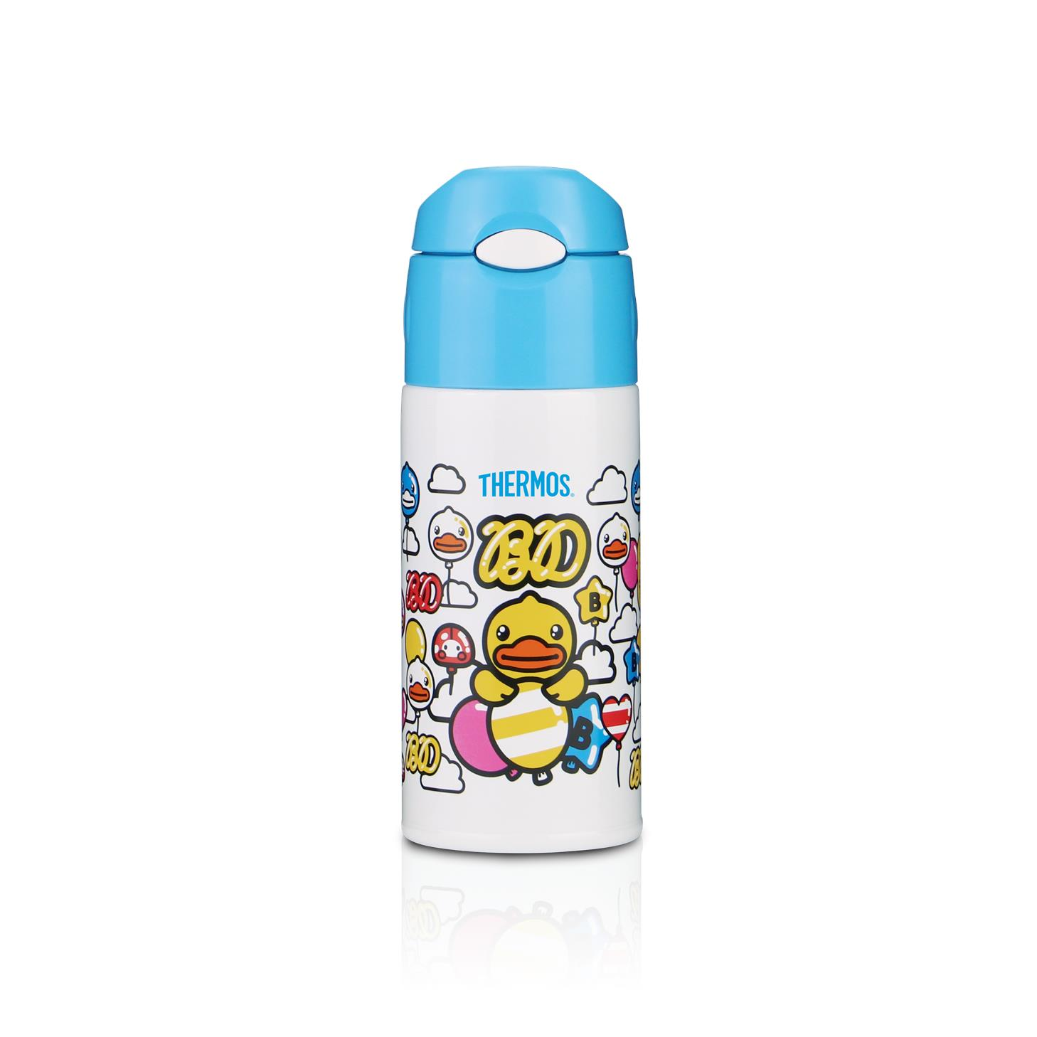 Thermos 400ml Straw Bottle W Bag- Blue (Bduck)