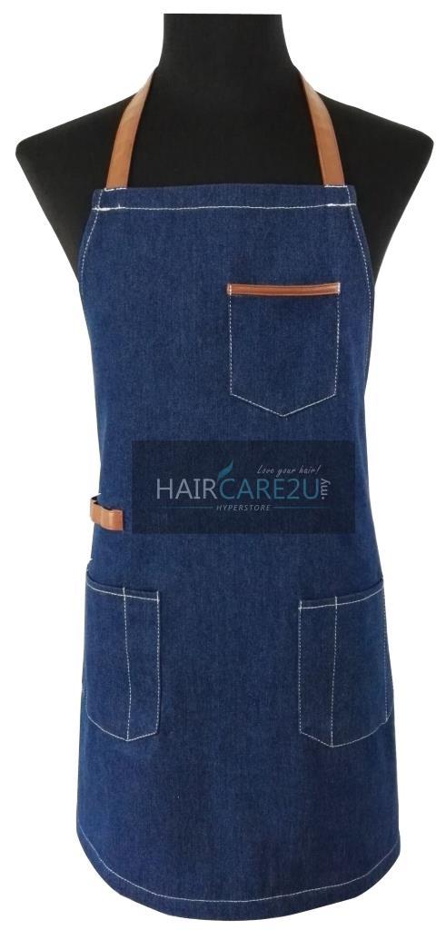 Thick Sleeveless Korean Style Denim Jeans Apron for Barber Kitchen Use