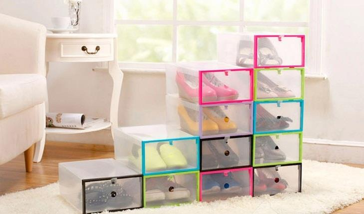 Thick Transparent Colorful DIY Plastic Clamshell Shoebox Storage Box