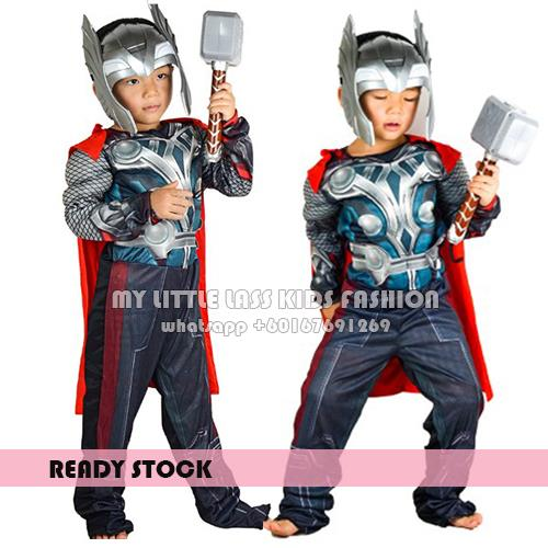 THOR Muscles The Avengers Movie Boys Dress Up Kids Costume