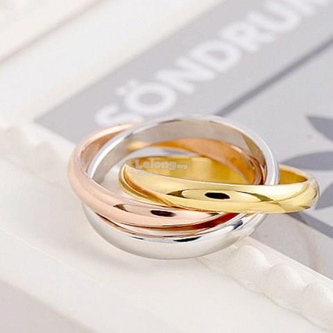 Three-tone Interlocking Ring