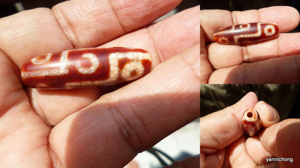tibetan 9 eye dzi red agate