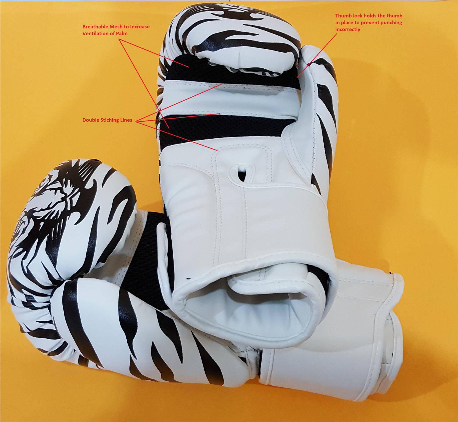 TIGER Stripe Boxing Glove 8oz (White)