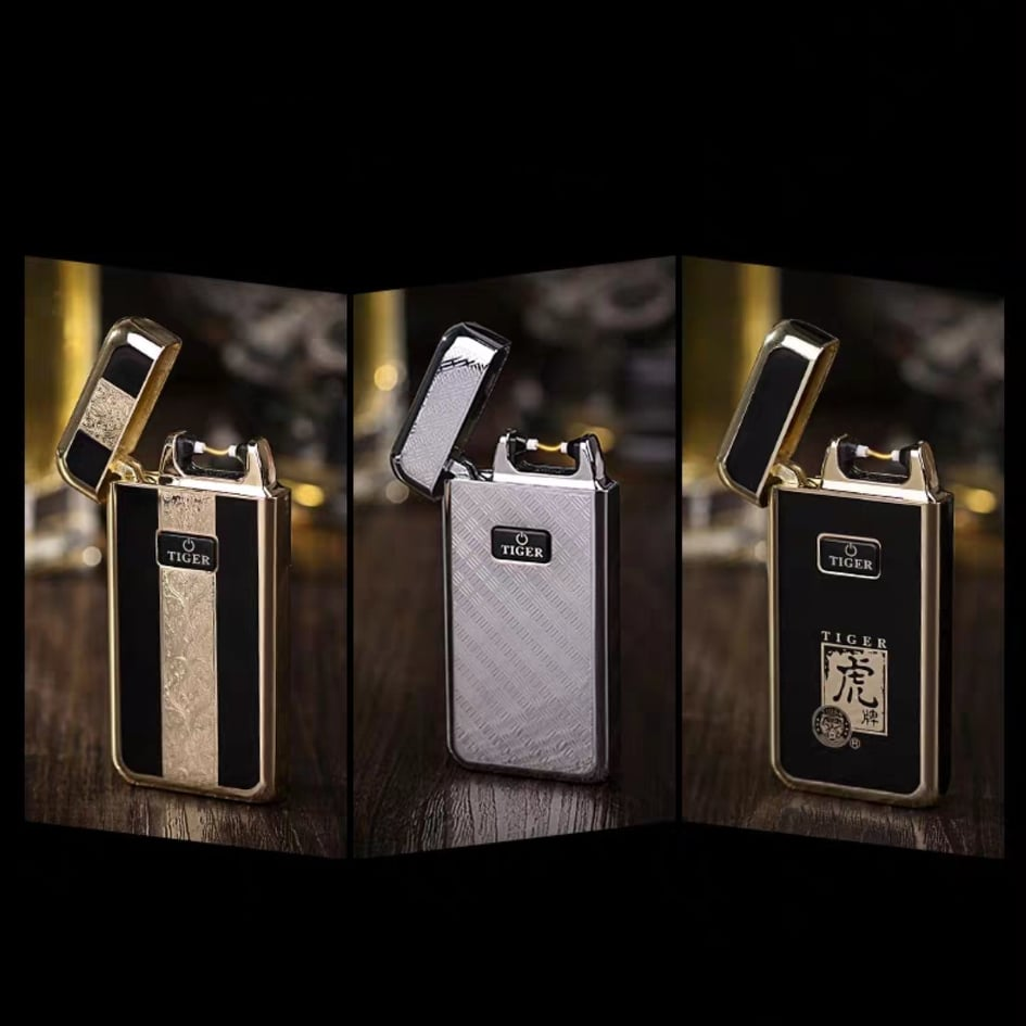 Tiger USB Electric Arc Lighter Rechargeable (Silver)