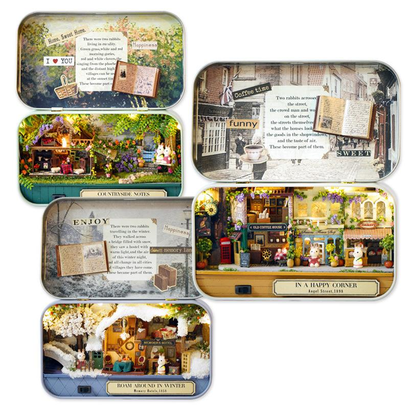 Old Time Trilogy with Box/LED Light DIY Miniature Dollhouse/Gift/Prese