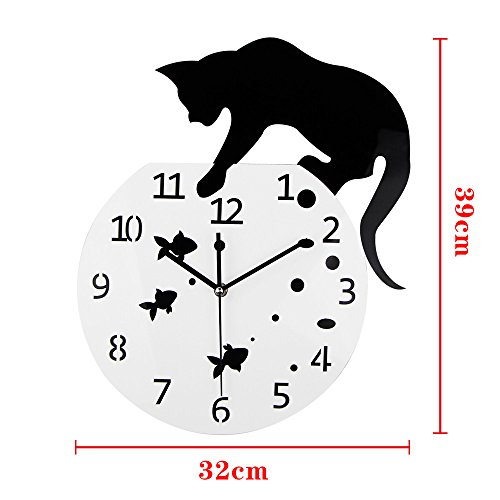 ..// Timelike Fishbowl Cat Clock/Creative Wall Clocks/Home DIY Decoration Watc
