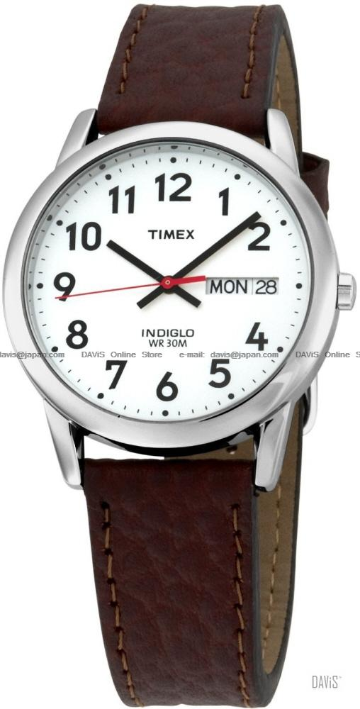 e8c1de79d TIMEX T20041 (M) Easy Reader day-date leather strap silver brown. ‹ ›