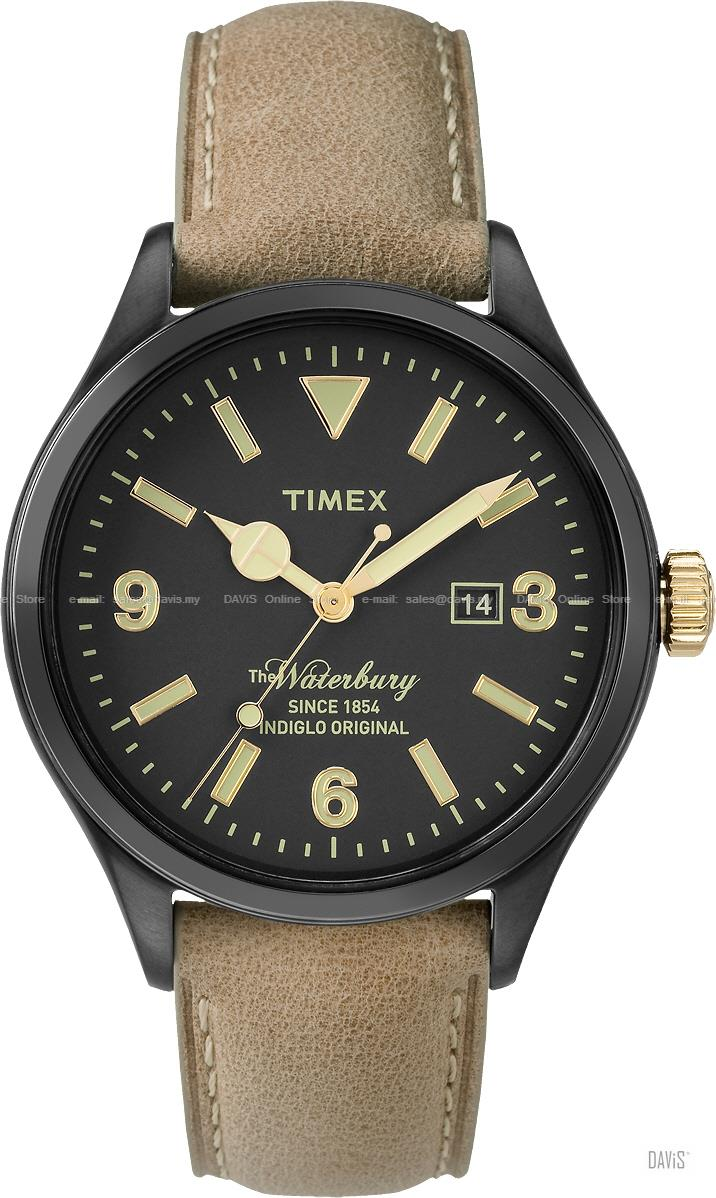 TIMEX TW2P74900 (M) The Waterbury Date leather strap black tan