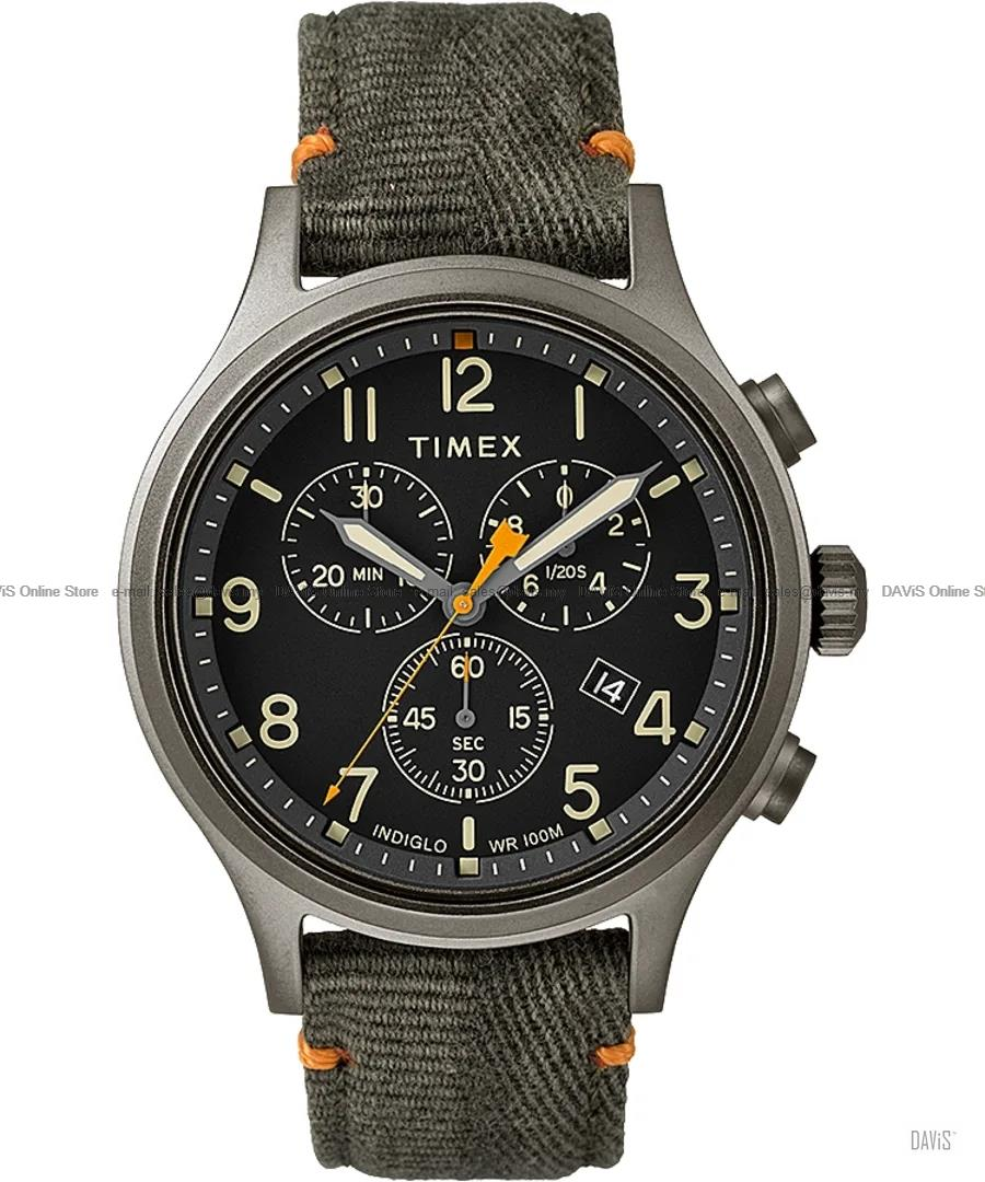 TIMEX TW2R60200 (M) Allied Chronograph 42mm Fabric Leather Strap Green