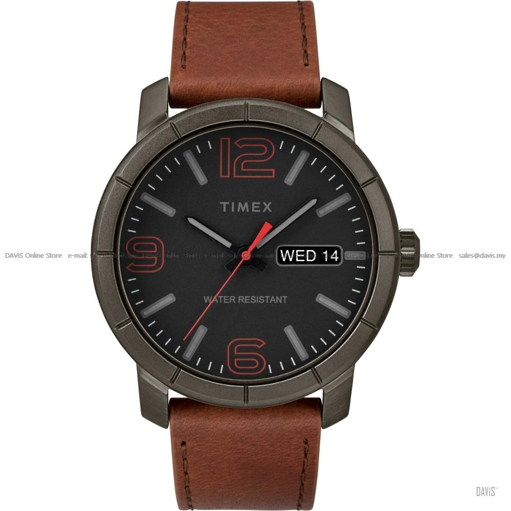 TIMEX TW2R64000 (M) Mod44 Day-Date Leather Strap Black Brown