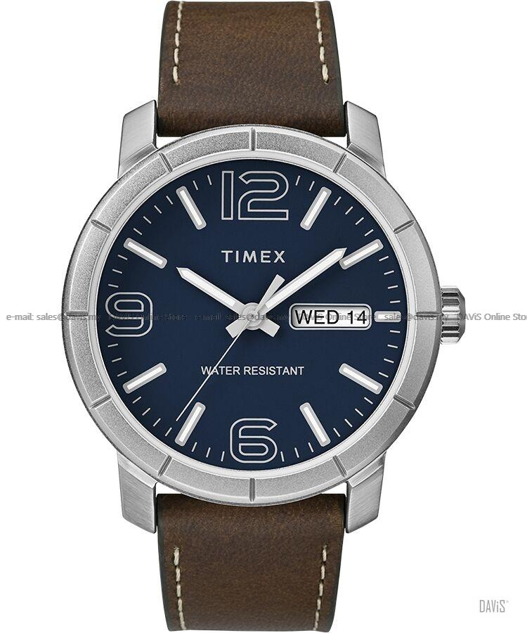 TIMEX TW2R64200 (M) Mod44 Day-Date Leather Strap Blue Brown