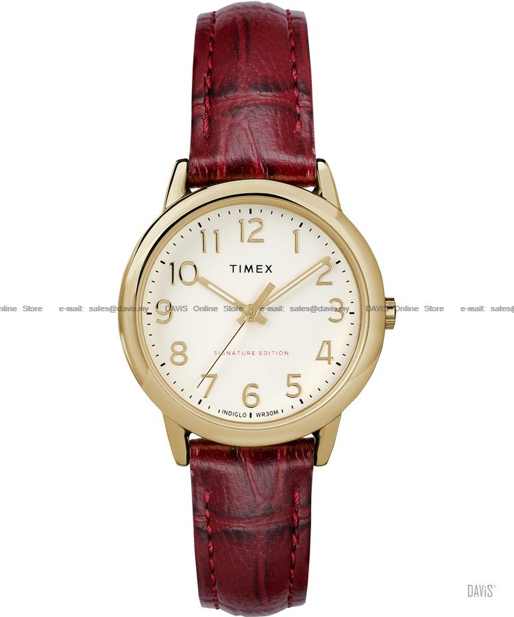 TIMEX TW2R65400 (W) Easy Reader Signature Date leather white red SE