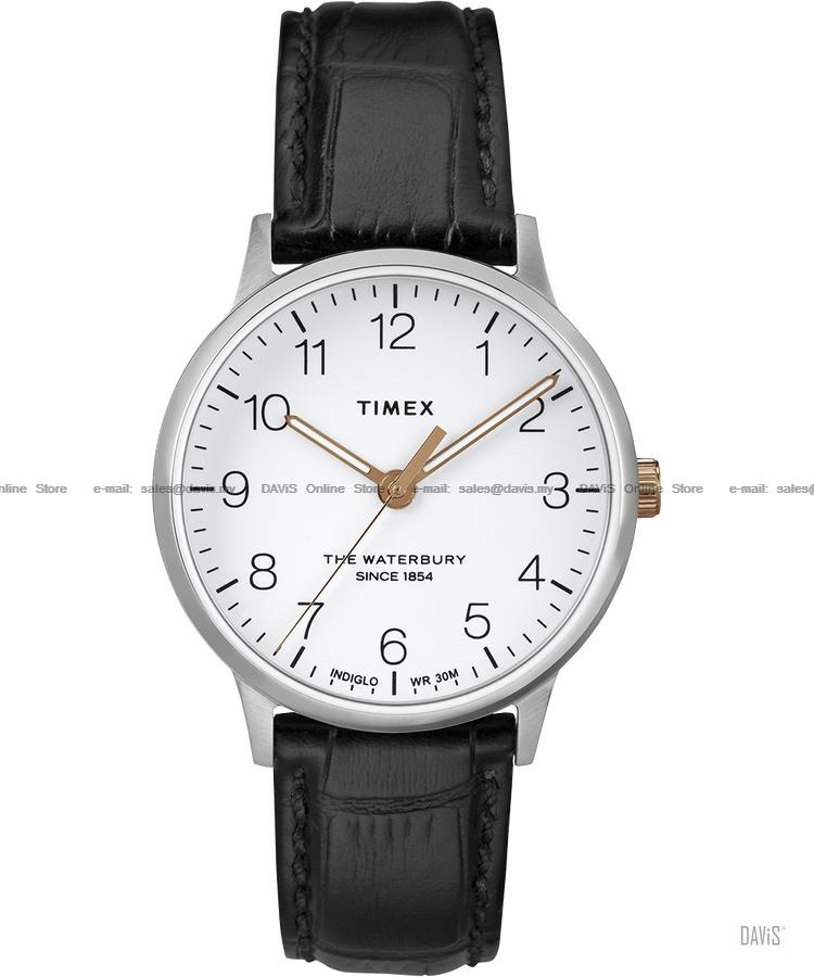 TIMEX TW2R72400 (U) Waterbury Classic leather strap white black