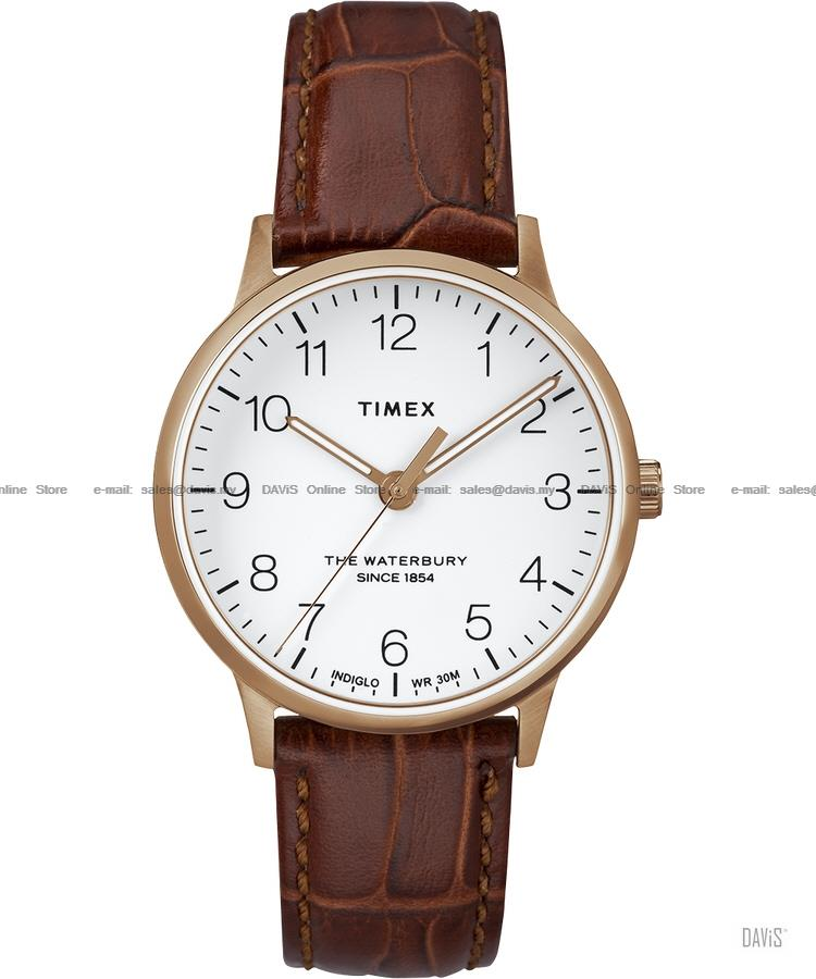 TIMEX TW2R72500 (U) Waterbury Classic leather strap white brown