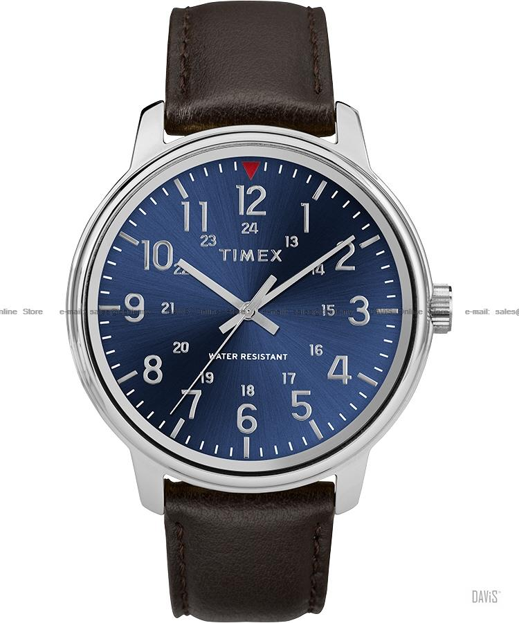 TIMEX TW2R85400 (M) Classic 24-hr leather strap blue brown